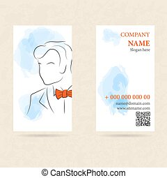 Vertical business card man in orange bow tie