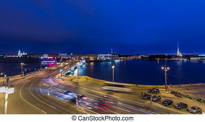 Malaya Neva river. Birzhevoy Exchange Bridge and traffic at night timelapse. St.-Petersburg, Russia