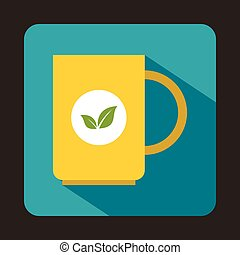 Yellow cup of tea icon in flat style - icon in flat style on...