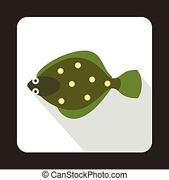 Flounder fish icon in flat style - icon in flat style on a...