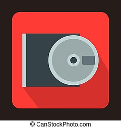 DVD drive open icon in flat style - icon in flat style on a...