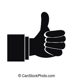 Thumb up gesture icon, simple style - Thumb up gesture icon...