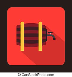 Wooden barrel with tap icon, flat style - icon in flat style...