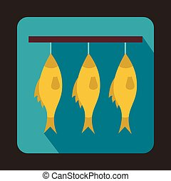 Three dried fish hanging on a rope icon - icon in flat style...