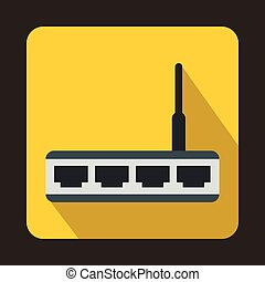 Router icon in flat style - icon in flat style on a yellow...