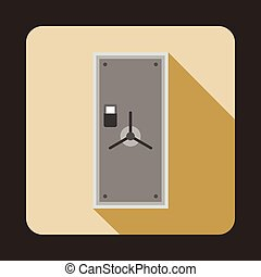 Safe door icon in flat style - icon in flat style on a beige...