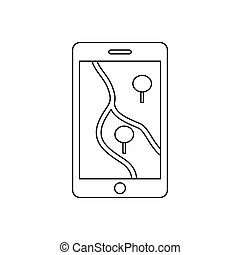 Smartphone with GPS navigator icon, outline style -...