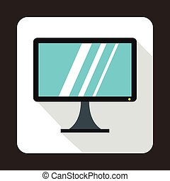 Computer monitor icon, flat style - icon in flat style on a...