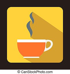 Glass cup of tea icon, flat style - icon in flat style on a...