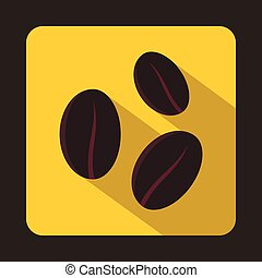 Coffee beans icon in flat style - icon in flat style on a...