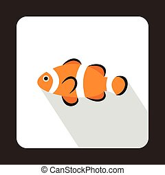 Cute clown fish icon, flat style - icon in flat style on a...