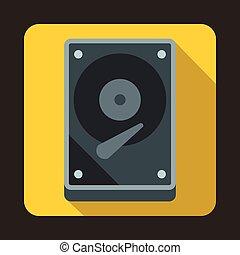 HDD icon icon, flat style - HDD icon in flat style on a...