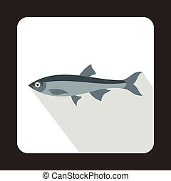 Herring fish icon in flat style on a white background