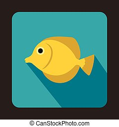 Yellow Tang fish, Zebrasoma flavescens icon - icon in flat...