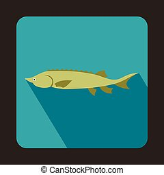 Fresh sturgeon fish icon, flat style - icon in flat style on...