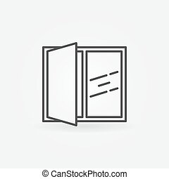 Open window line icon. Vector linear concept house window...
