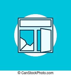 Broken window colorful icon