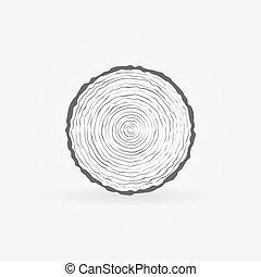 Cut tree trunk icon. Vector minimal tree trunk cross-section...