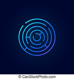 Blue abstract labyrinth icon Vector colorful round maze...