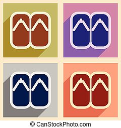 Collection icons of Japanese slippers - Collection of...