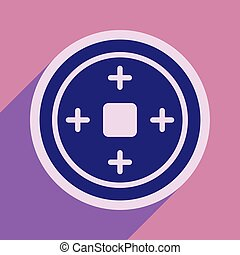 Chinese coins and realistic icon on purple