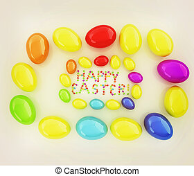 Easter eggs as a quot;Happy Easterquot; greeting on white...