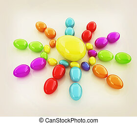 Colored Eggs on a white background 3D illustration Vintage...