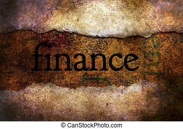 Finance text on torn paper