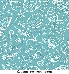 seamless sea creatures pattern - Vector with hand made...