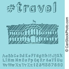 Travel concept with monument - Travel concept Vector...