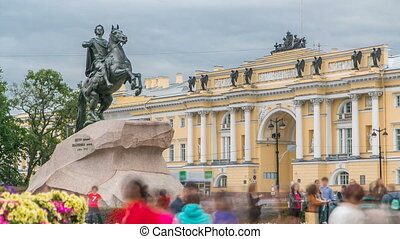 Monument of Russian emperor Peter the Great, known as The Bronze Horseman timelapse, Saint Petersburg , Russia