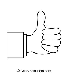 Thumb up gesture icon, outline style - Thumb up gesture icon...