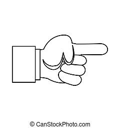 Pointing hand gesture icon, outline style