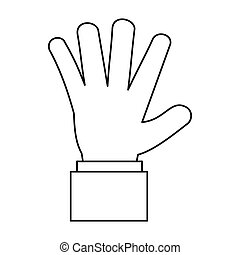 Hand showing five fingers icon, outline style