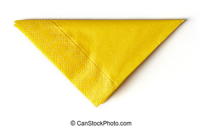 yellow paper napkin isolated on white background