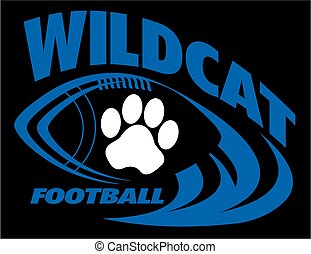 wildcat football team design with football laces and paw...