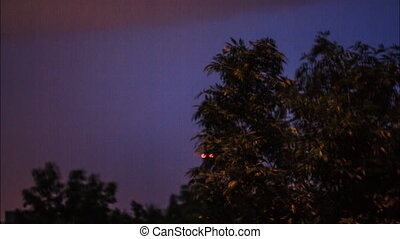 Night thunder-storm with lightnings - Outside the window a...
