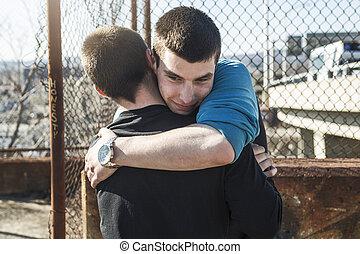 Boys Outside having fun together - Two Boys Outside having...