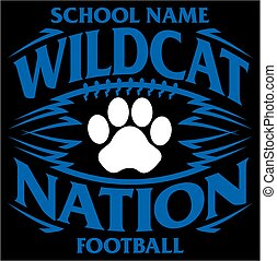 wildcat football - wildcat nation football team design with...