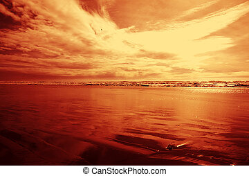 Red cloudy sky at the beach - Red cloudy sky at the beach....