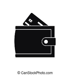 Wallet with credit card and cash icon