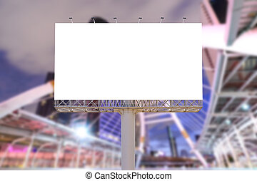 Blank billboard at night for advertisement.