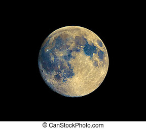 Full moon seen with telescope, enhanced colours - Full moon...