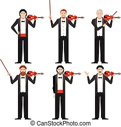 Set of violinistes flat icons
