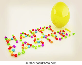 Easter eggs as a quot;Happy Easterquot; greeting and Big...