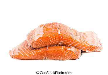 Fresh uncooked red fish fillet slices. Isolated on a white...
