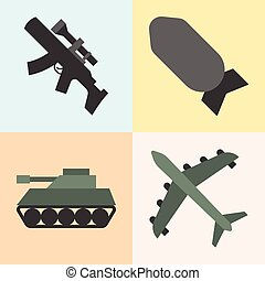 Vector army weapon,flat design