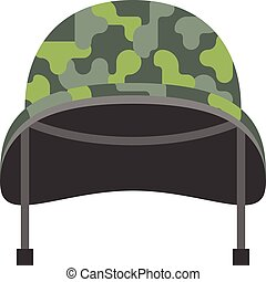 Vector military helmet, flat design