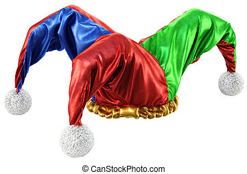 jester hat isolated on white background. 3d illustration.