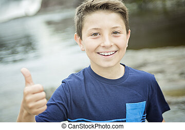 close up of a cute 8 year old boy - A close up of a cute 8...